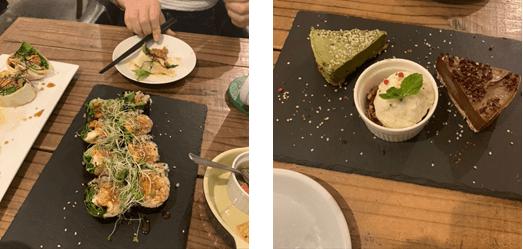 左:カリフォルニア ブリトー寿司 右:HEMP デザート盛り合わせプレート